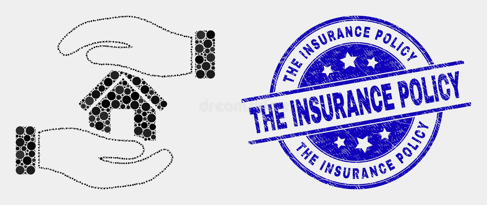 Vector Pixelated Hands Care Home Icon and Distress The Insurance Policy Watermark. Pixelated hands care home mosaic pictogram and The Insurance Policy seal stamp stock illustration