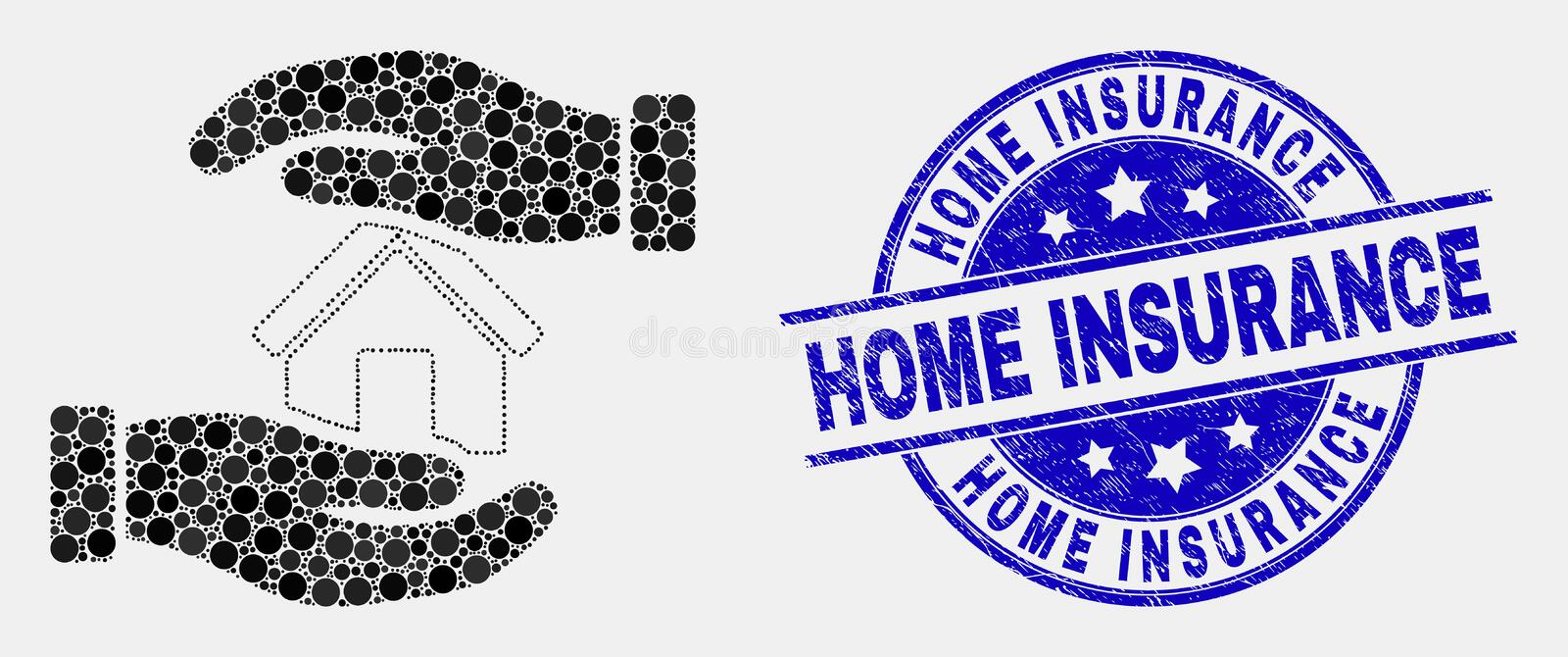 Vector Pixelated Hands Care Home Icon and Scratched Home Insurance Stamp. Pixelated hands care home mosaic pictogram and Home Insurance stamp. Blue vector round vector illustration