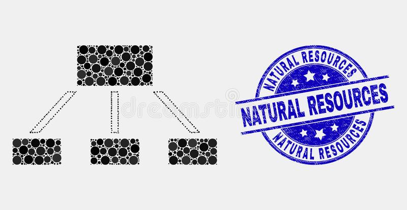 Vector Pixelated Hierarchy Icon and Grunge Natural Resources Stamp. Dot hierarchy mosaic pictogram and Natural Resources seal stamp. Blue vector round grunge vector illustration
