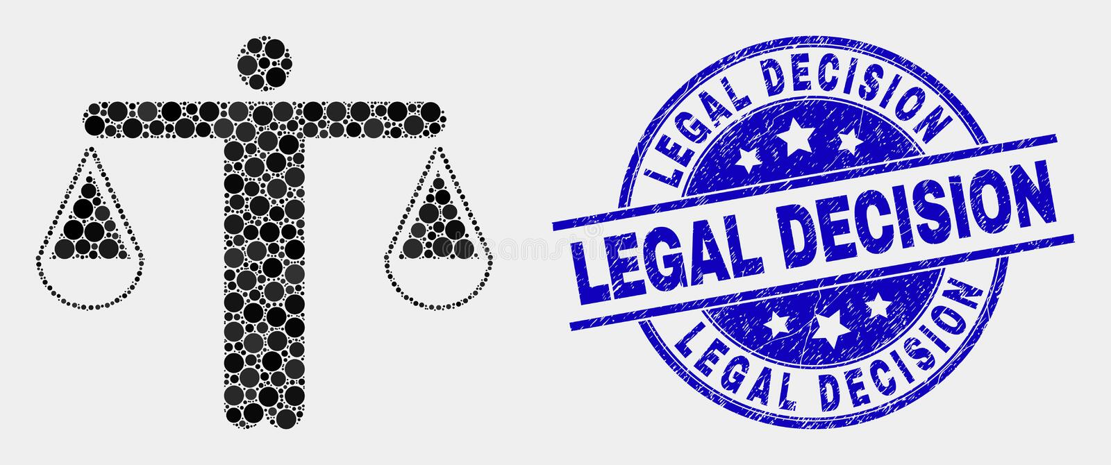 Vector Pixelated Judge Icon and Grunge Legal Decision Stamp Seal. Pixel judge mosaic icon and Legal Decision seal stamp. Blue vector round grunge seal with Legal vector illustration
