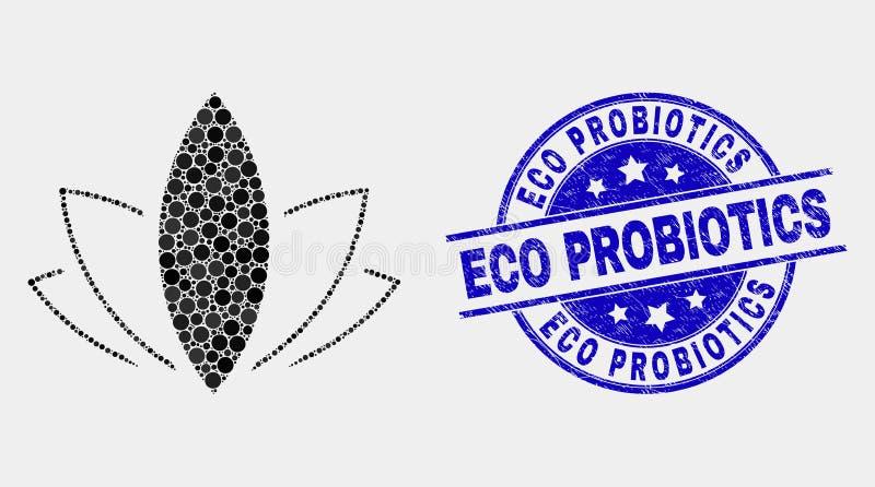 Vector Pixelated Lotus Icon y sello de Eco Probiotics de la desolación libre illustration