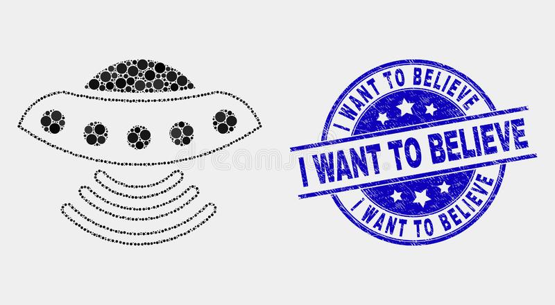 Vector Pixelated UFO Icon and Grunge I Want to Believe Seal stock illustration
