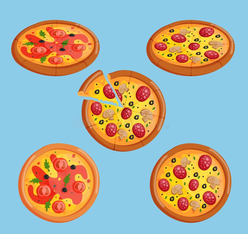 Vector pizza flat food collection isolated illustration piece slice. Pizzeria food menu product on white background vector illustration