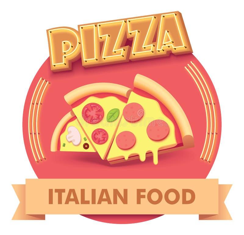 Vector pizza illustration or label for menu stock illustration