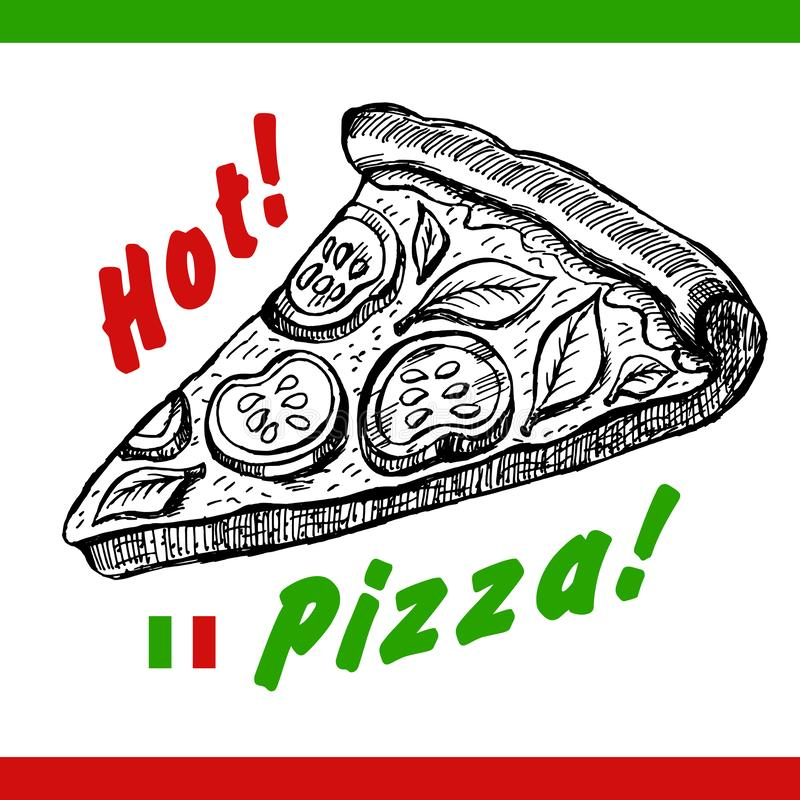 Vector Pizza slice drawing. Hand drawn pizza illustration. Great for menu, poster or banner. Vector Pizza slice drawing. Hand drawn pizza illustration royalty free illustration