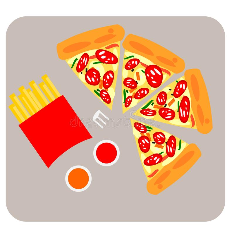 The Vector of Pizza on top with ham, crab stick, bell pepper and French Fries or Chips with Tomato Ketchup and Chilli Sauce vector illustration