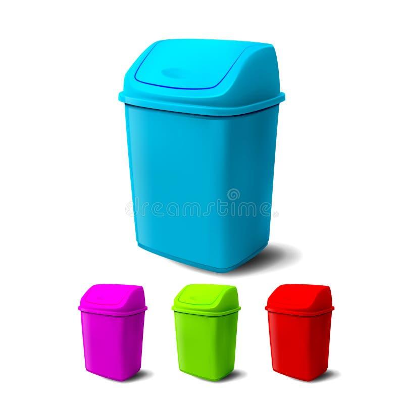Vector plástico del cubo Diversos colores del cubo lleno Tarro clásico vacío Oficina, equipo del lavabo para la basura de papel stock de ilustración