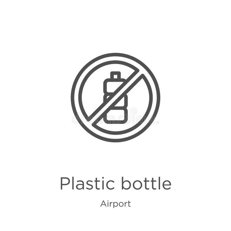vector plástico del icono de la botella de la colección del aeropuerto L?nea fina ejemplo pl?stico del vector del icono del esque ilustración del vector