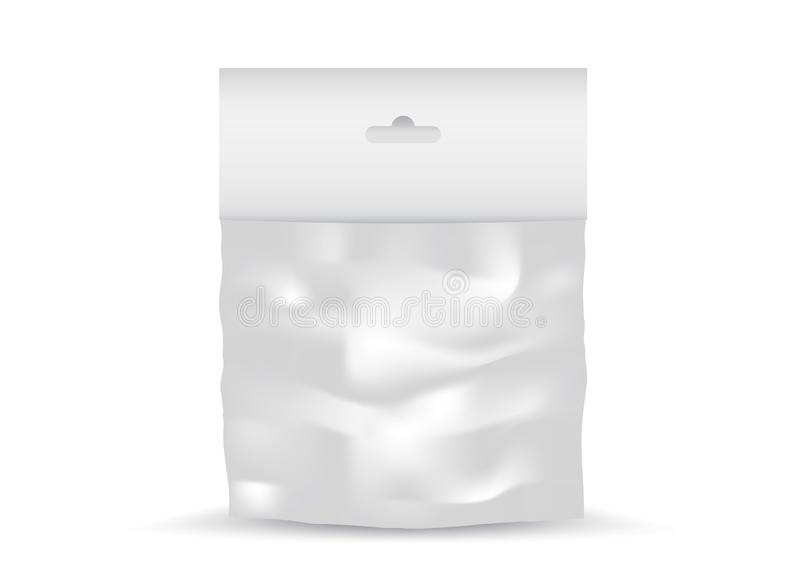 Vector plástico en blanco blanco del bolso del bolsillo, diseño de paquete, 3d, diseño de producto, realista stock de ilustración