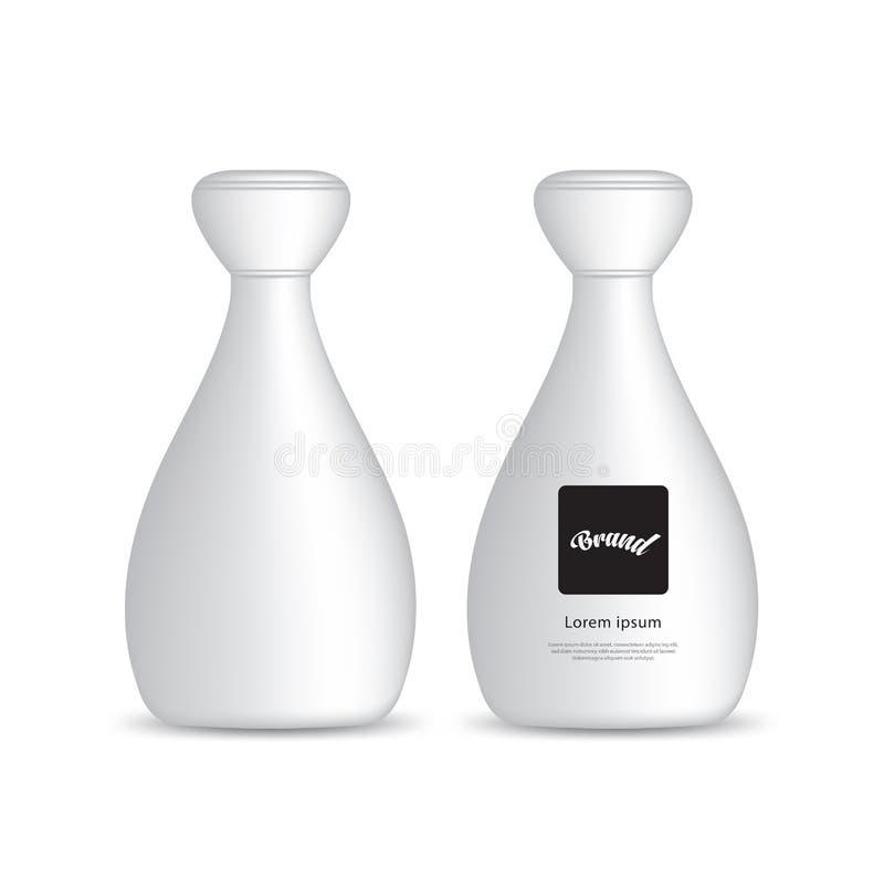 Vector pl?stico blanco para la p?ldora, suplementario, m?dica, belleza de la botella Dise?o de producto stock de ilustración