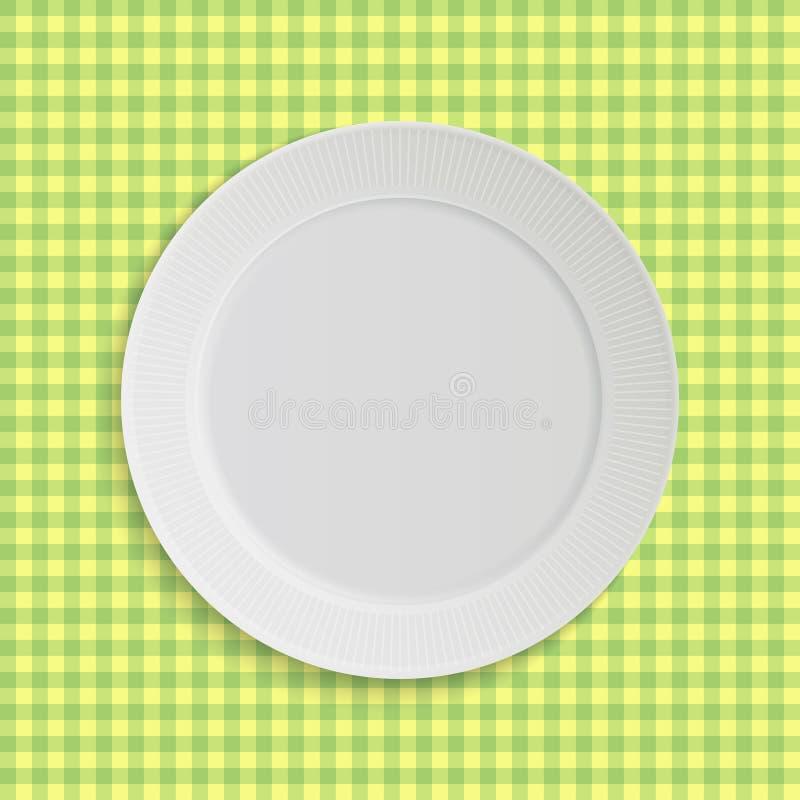 Vector plaat op tafelkleed royalty-vrije illustratie