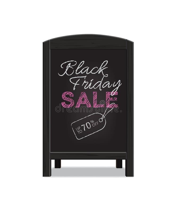 Vector a placa de madeira preta do anúncio do menu com texto da venda de Black Friday ilustração royalty free