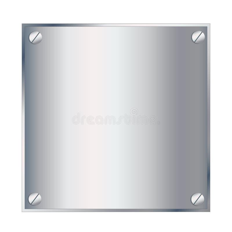 Vector a placa de prata do pódio do metal com os parafusos isolados em b branco ilustração stock