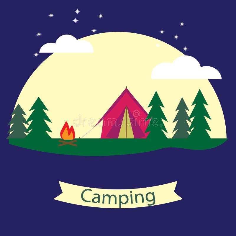 Vector Plakat auf dem Thema des Kampierens mit einem Zelt stock abbildung