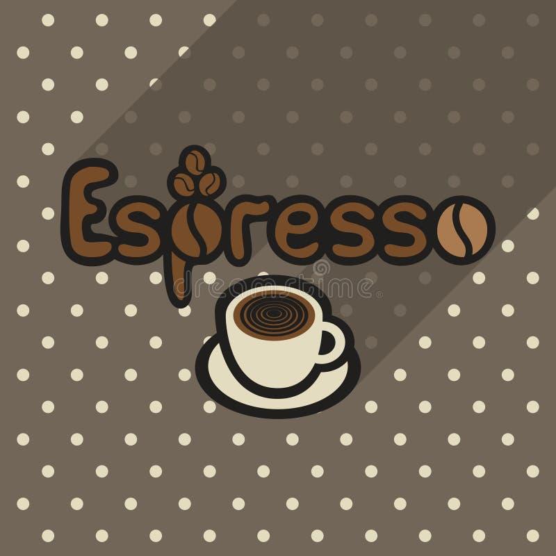 Vector Plakat in der flachen Art mit Schale Espresso stock abbildung