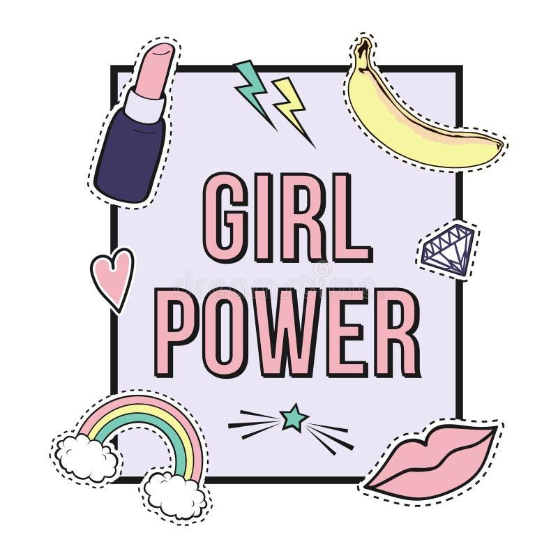 Vector Plakat ` Mädchen-Energie ` mit netten Modefleckenausweisen: Lippen, Regenbogen, Stern, Diamant, Lippenstift vektor abbildung