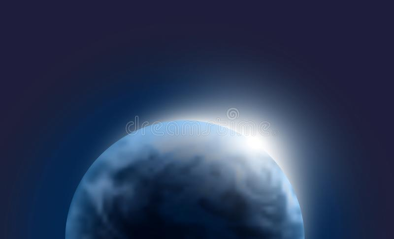 Vector planet Earth with sunrise in dark space. Blue globe background illustration. Sciense astronomy wallpaper stock image