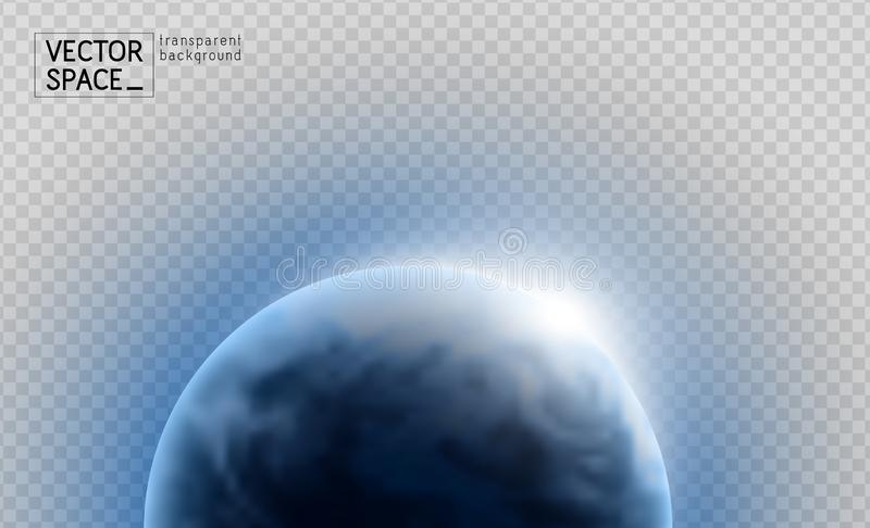 Vector planet Earth with sunrise in space isolated on transparent background. Blue globe illustration. Sciense astronomy design stock photos