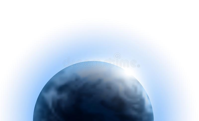 Vector planet Earth with sunrise in space isolated on white background. Blue globe illustration. Sciense astronomy design element royalty free stock image