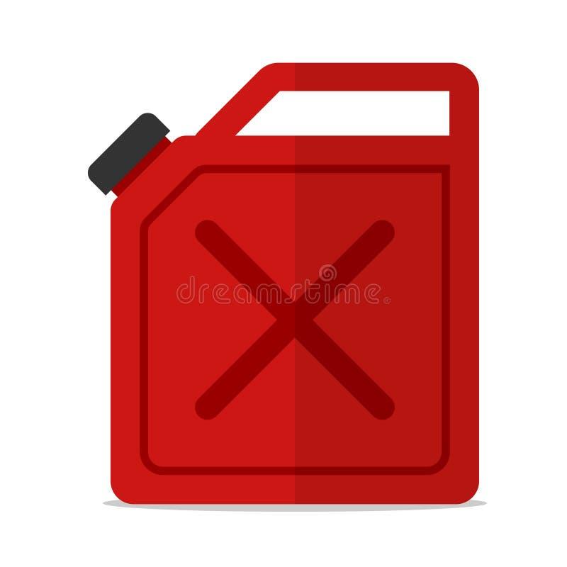 Vector plano aislado icono rojo de la gasolina del bote ilustración del vector