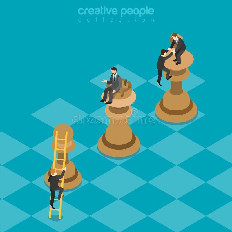 Vector plano 3d del juego de la estrategia del negocio provechoso para ambas partes del ajedrez isométrico ilustración del vector