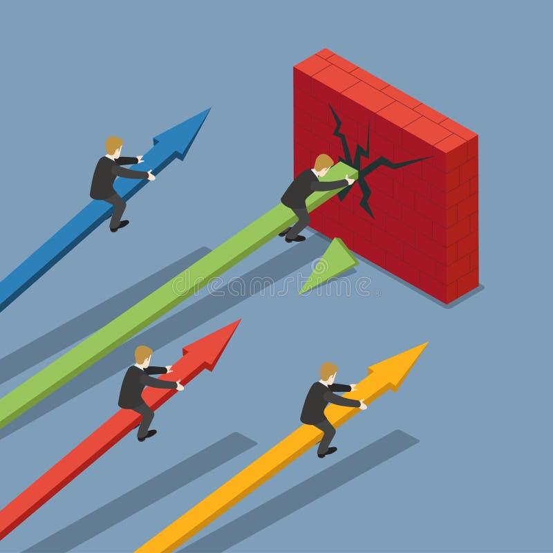 Vector plano 3d del negocio de la flecha del mercado del muro de cemento isométrico ilustración del vector