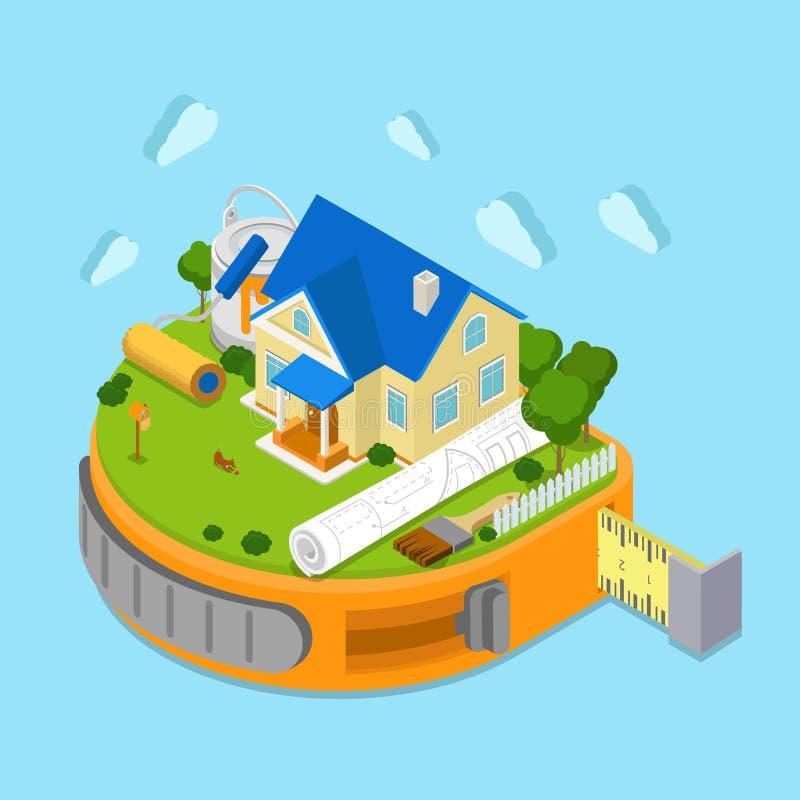 Vector plano de la construcción de la casa isométrico: proyecto, cinta-línea stock de ilustración