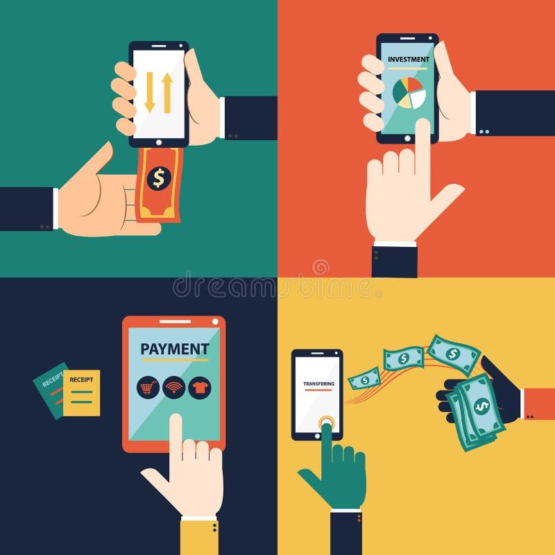 Vector plano de la mano del diseño para el concepto móvil de las actividades bancarias ilustración del vector