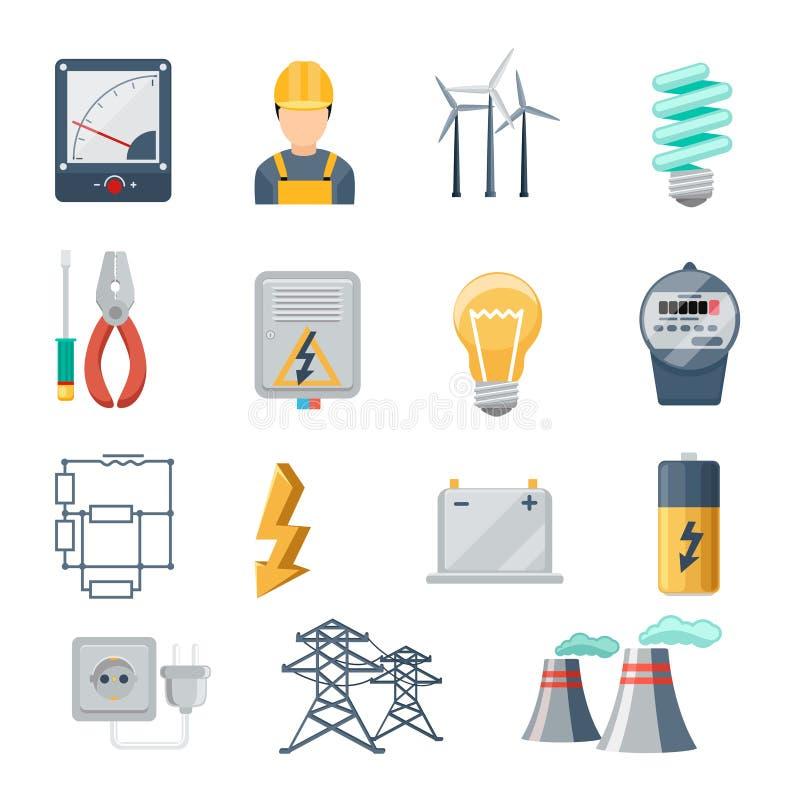 Vector plano de los iconos de la industria de la electricidad y de poder ilustración del vector