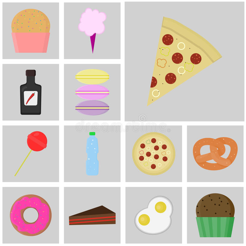 Vector plano del color de los iconos Icono de la comida y de la bebida Rebanada del icono de pizza libre illustration