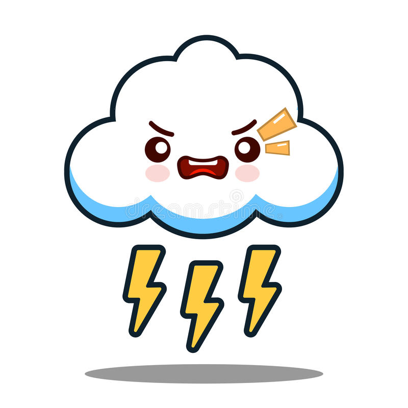 Vector plano del diseño de la nube del rayo del kawaii de la cara del personaje de dibujos animados lindo del icono libre illustration