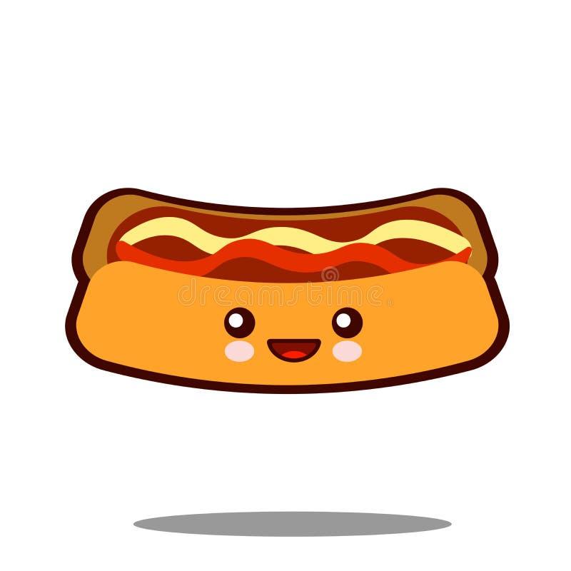 Vector plano del diseño de los alimentos de preparación rápida del kawaii del icono del personaje de dibujos animados del perrito ilustración del vector