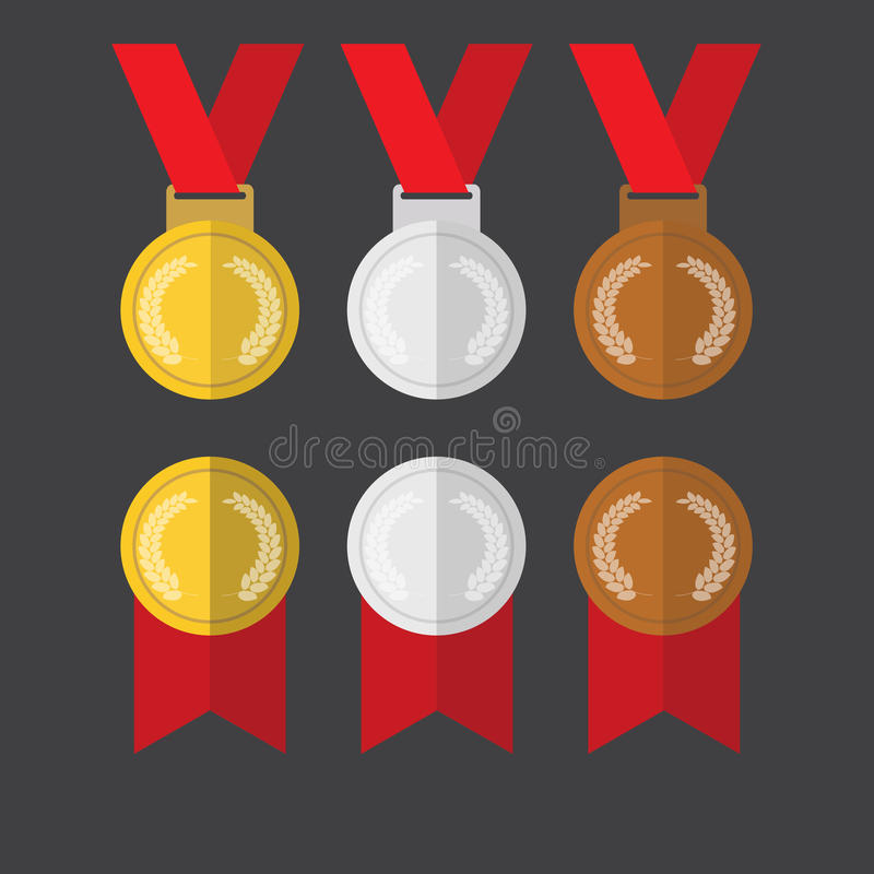 Vector plano del diseño de los medallistas de plata de las medallas de oro y de las medallas de bronce imagen de archivo