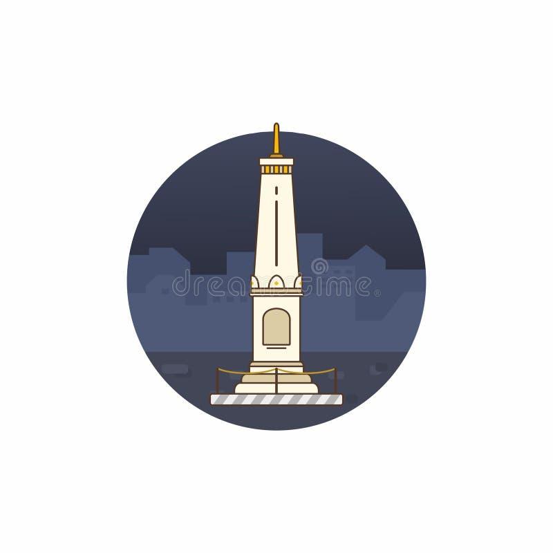 Vector plano del diseño de Tugu Yogyakarta foto de archivo