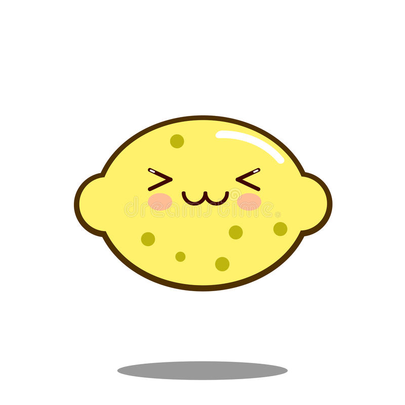 Vector plano del diseño del limón de la fruta del personaje de dibujos animados del kawaii lindo del icono libre illustration