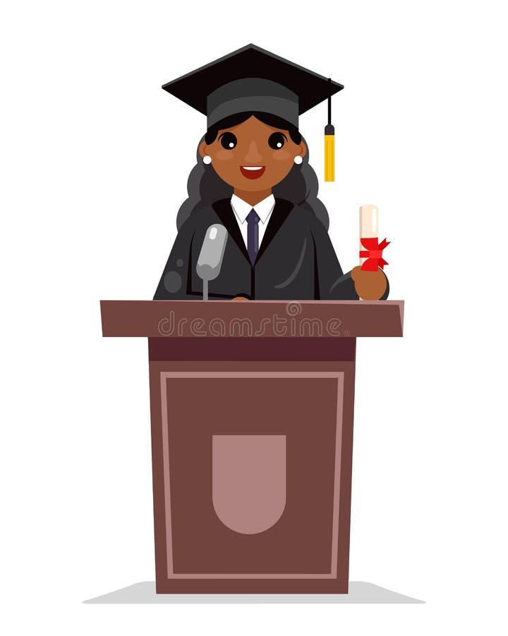 Vector plano del diseño del graduado de la educación de la mujer de la graduación de la tribuna del carácter africano solemne fem stock de ilustración