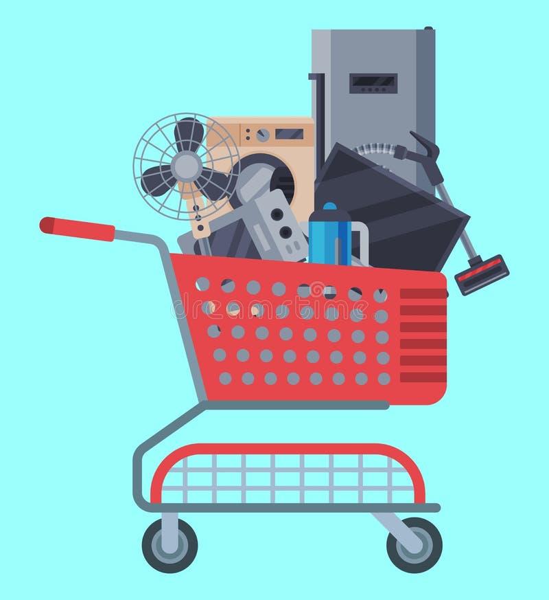 Vector plano del ejemplo de la cesta de compras de los aparatos electrodomésticos Equipo moderno de la máquina de la casa de la t ilustración del vector