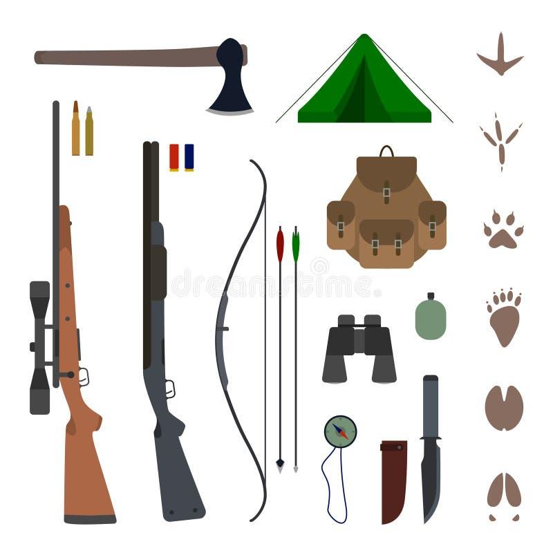 Vector plano del equipo del equipo de la caza stock de ilustración