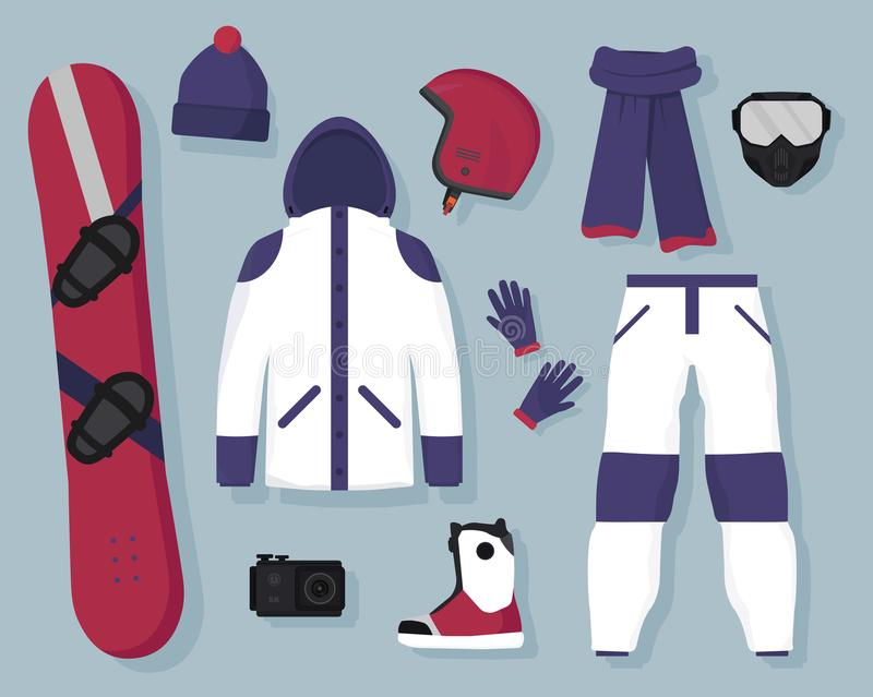 Vector plano del equipo y de los accesorios de la snowboard Deportes extremos del invierno y reconstrucción activa ilustración del vector