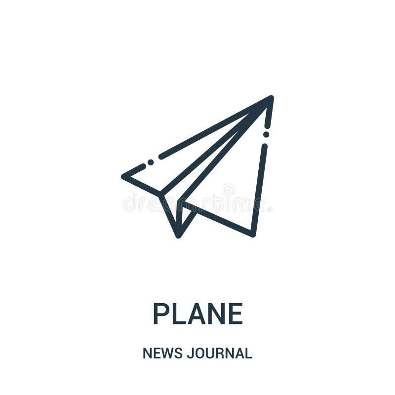 vector plano del icono de la colección del diario de las noticias Línea fina ejemplo plano del vector del icono del esquema Símbo stock de ilustración