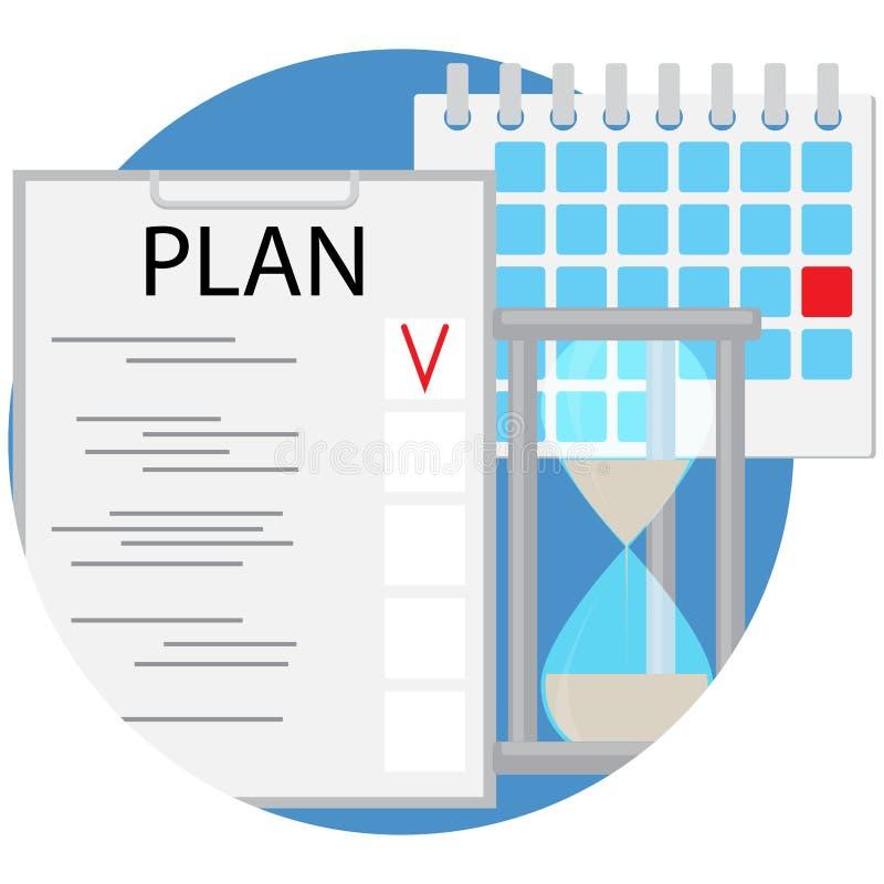 Vector plano del icono de la gestión del planeamiento y de tiempo libre illustration