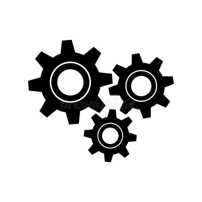 Vector plano del icono de la muestra de tres engranajes para el diseño gráfico, logotipo, sitio web, medio social, app móvil, eje libre illustration