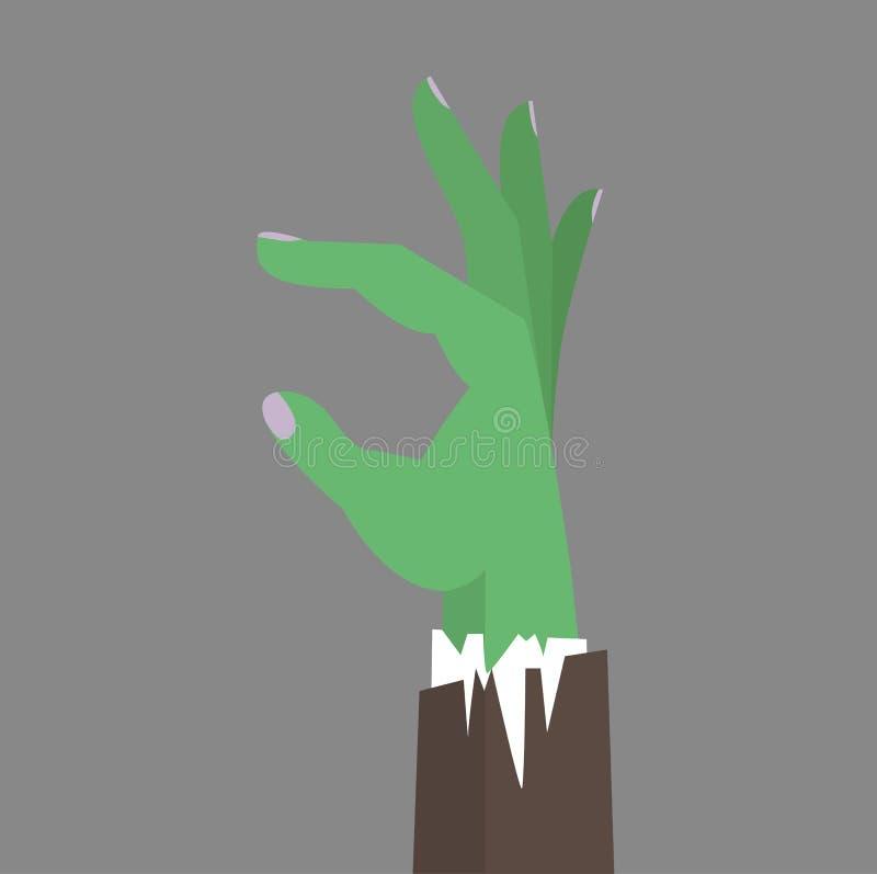 Vector plano del negocio de la mano del zombi ilustración del vector