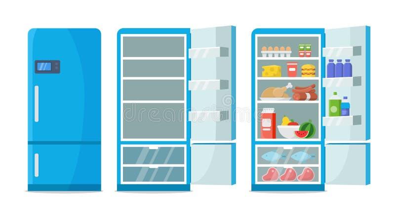 Vector plano del refrigerador Refrigerador vacío cerrado y abierto Refrigerador azul con la comida sana, agua, reunión, verduras ilustración del vector