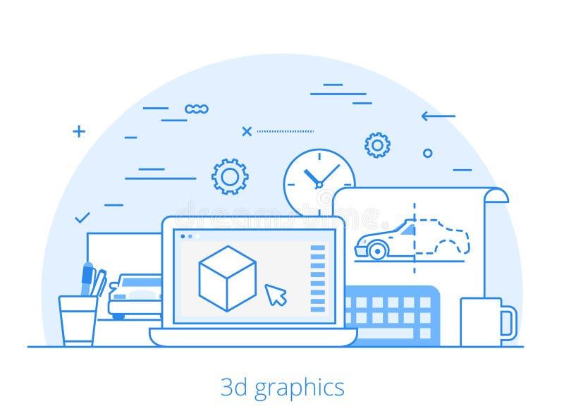 Vector plano del sitio web del servicio de los gráficos 3D de Lineart ilustración del vector