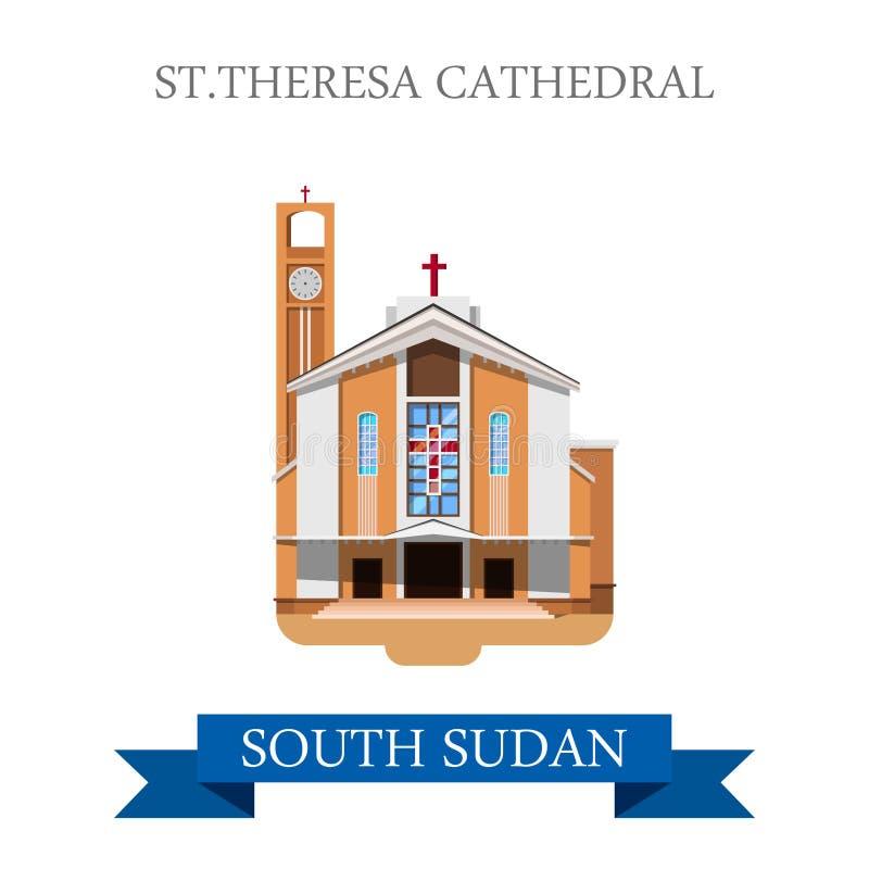Vector plano del St Theresa Cathedral Juba South Sudan ilustración del vector