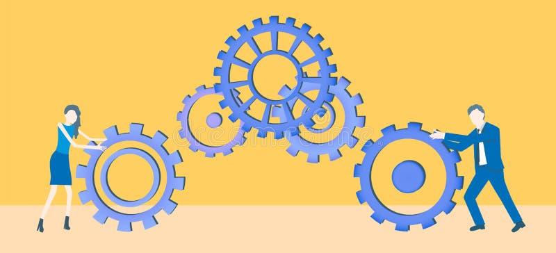 Vector plano del trabajo en equipo del diseño del negocio con dos colegas que ruedan las ruedas dentadas stock de ilustración