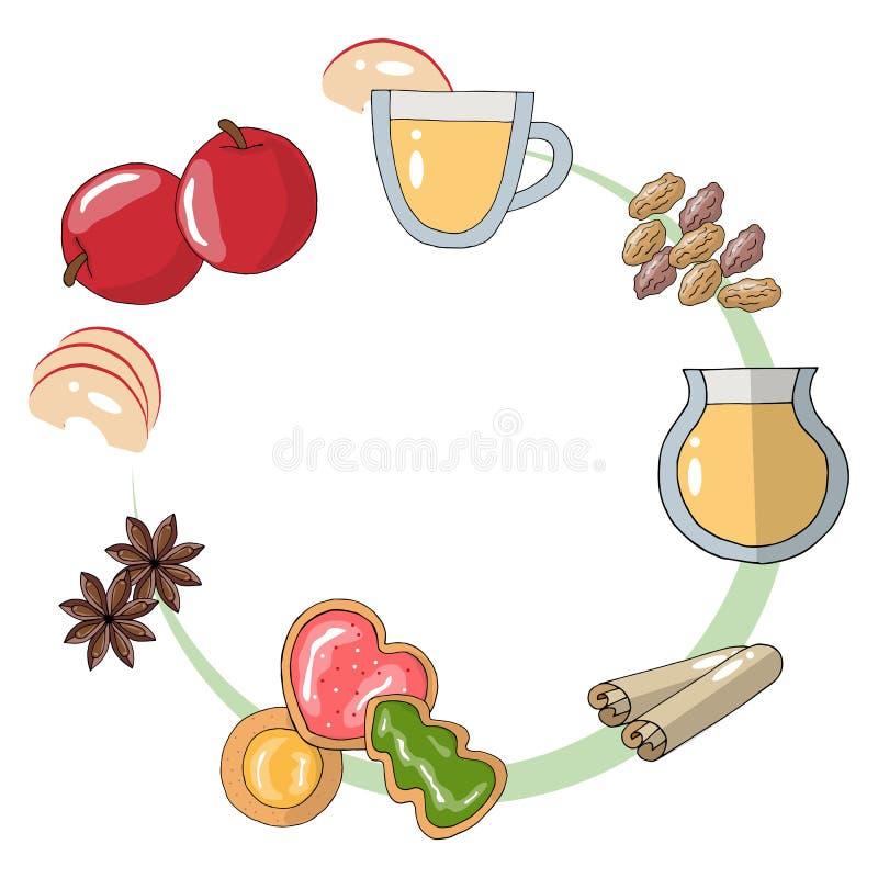 Vector plano Diagrama cómo hacer una bebida de la manzana con las pasas y las hierbas stock de ilustración