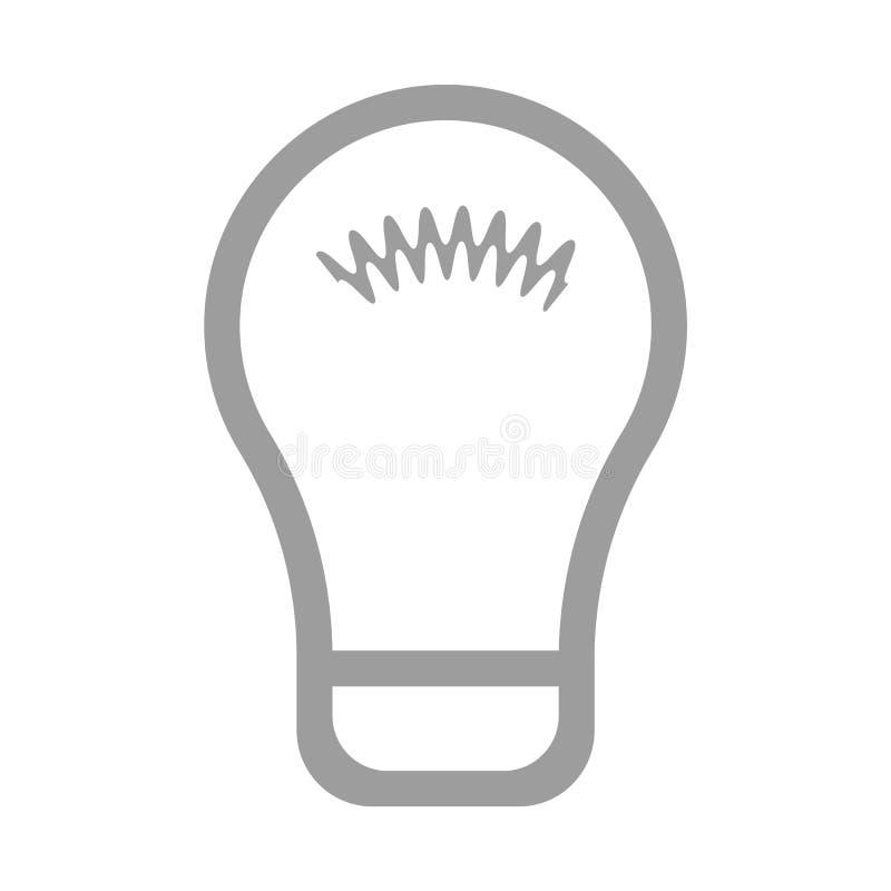 Vector plano eps10 del estilo del esquema del bulbo de l?mpara Muestra del bulbo Icono de la idea Icono del bulbo aislado en fond stock de ilustración