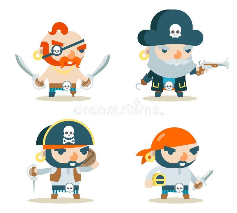 Vector plano fijado iconos del diseño del carácter del juego del tesoro del RPG de la fantasía del perro de mar del corsario del  libre illustration